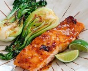 Grilled Salmon and Bok Choy